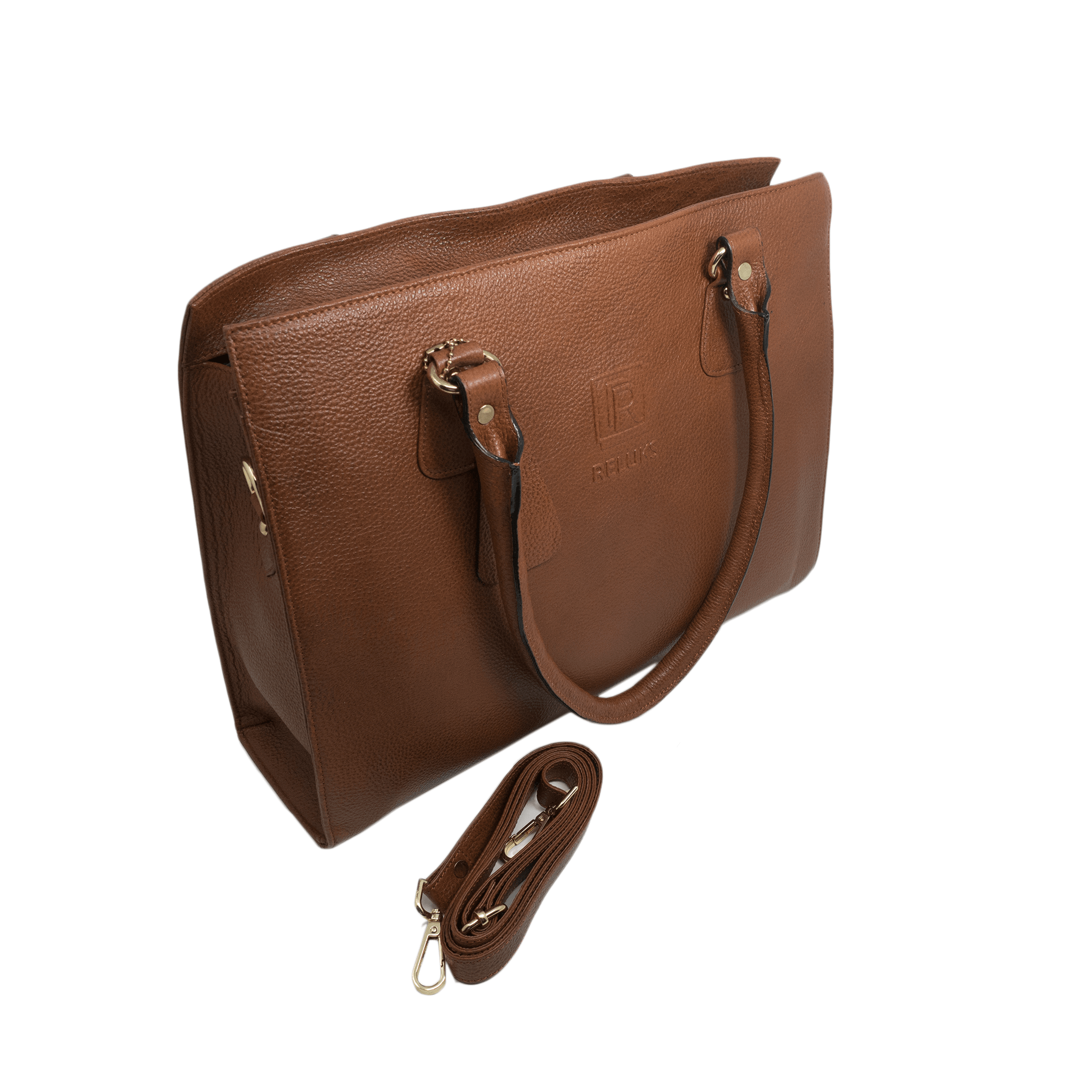 Handcrafted tan brown leather shoulder bag side view with detachable strap for women by RELUKS