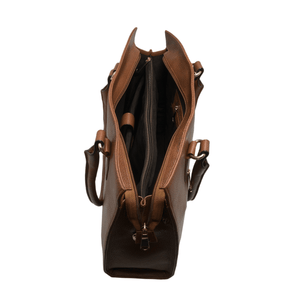 Handcrafted tan brown leather shoulder bag front view with open zip pocket  for women by RELUKS