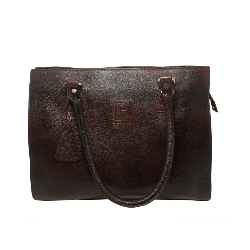 Handcrafted textured brown leather shoulder bag front view for women by RELUKS