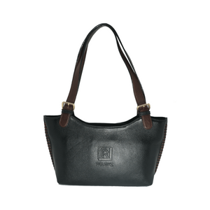 Handcrafted genuine black leather shoulder bag front view for women by RELUKS