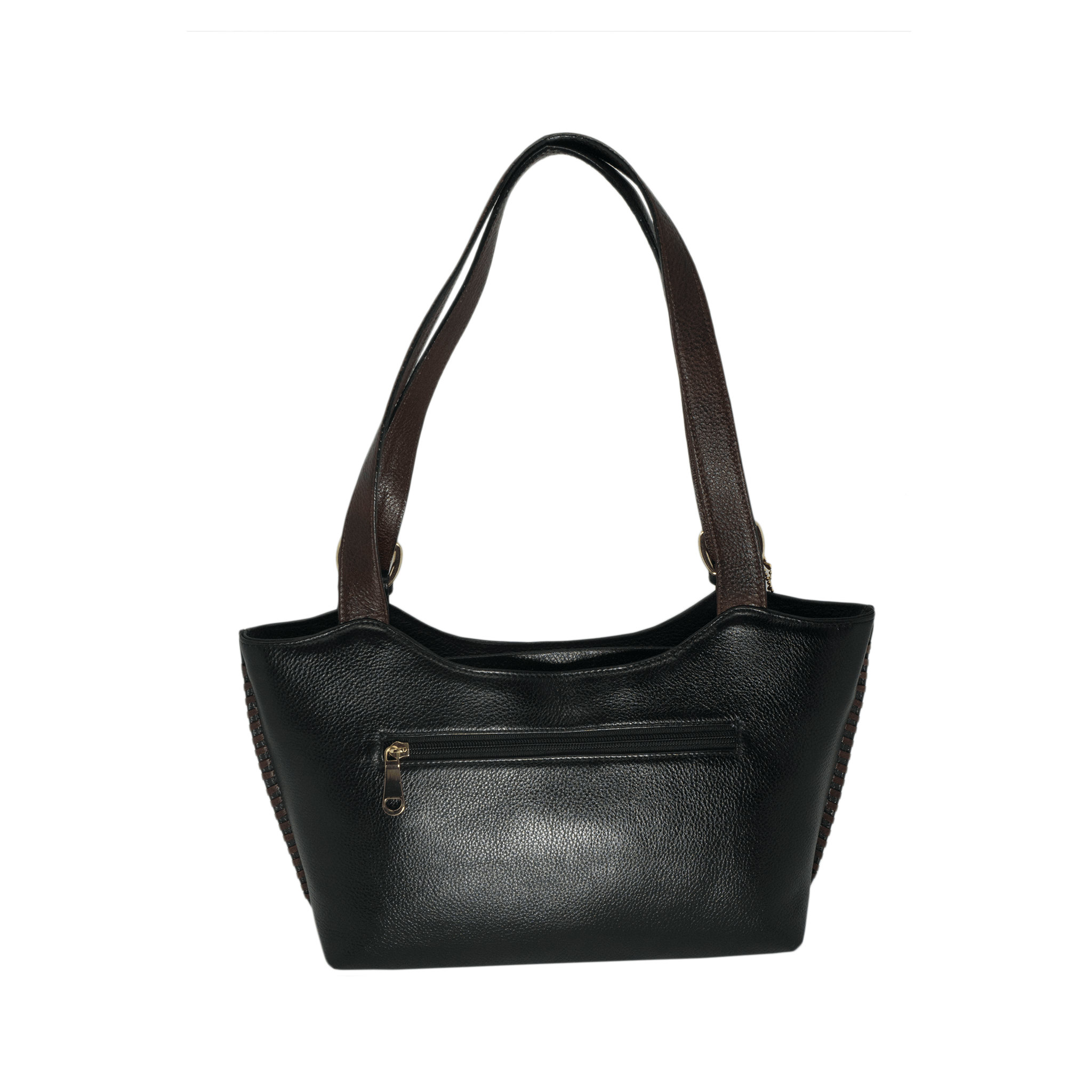 Handcrafted genuine black leather shoulder bag back view for women by RELUKS
