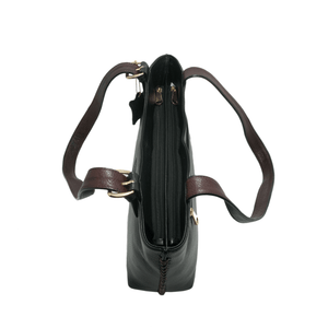 Handcrafted genuine black leather shoulder bag top view for women by RELUKS