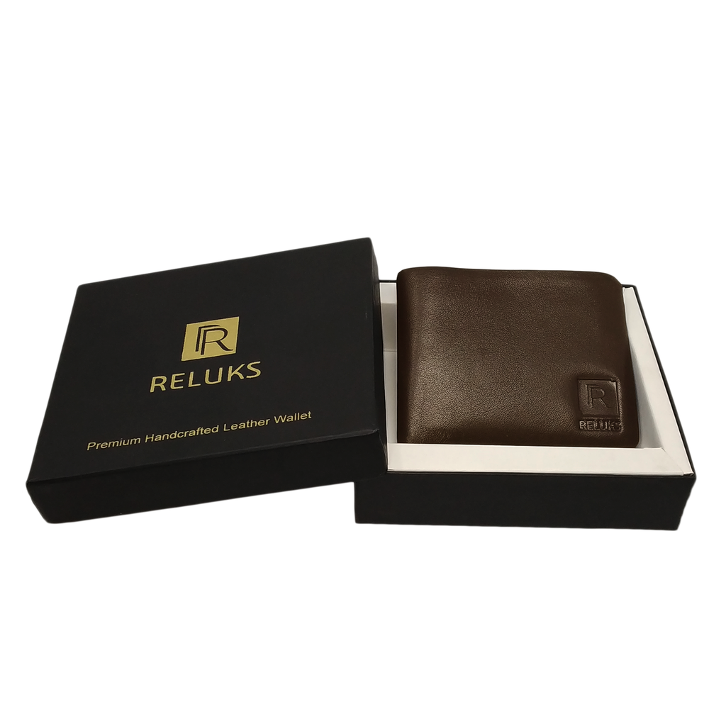 Handcrafted genuine brown leather stitch less wallet with box  for men by RELUKS