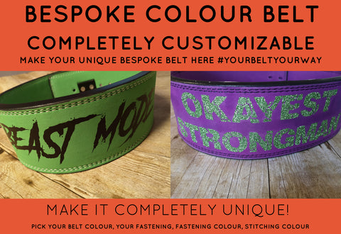 *BESPOKE COLOUR BELT: CUSTOM DOUBLE PRONG BUCKLE BELT - Resolute Strength Wear