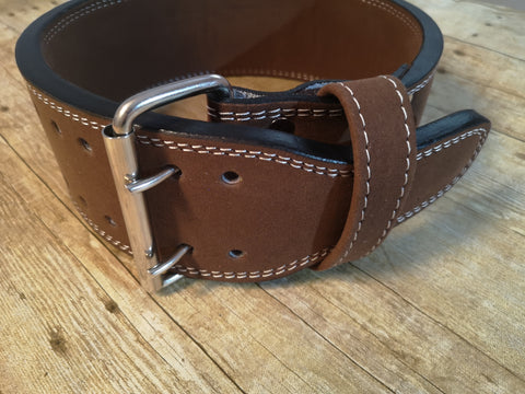 Clearance belt: 13mm Brown prong belt - Resolute Strength Wear