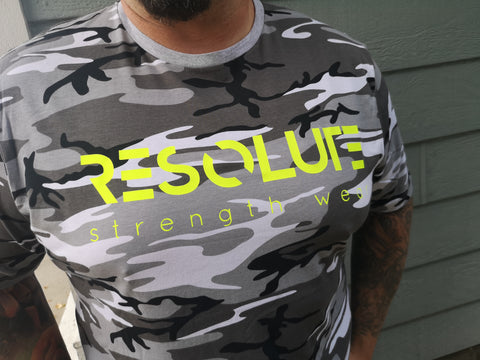 Resolute Tshirt - Black & White Camo - Resolute Strength Wear
