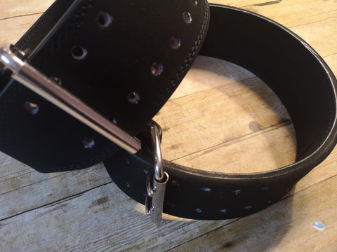 Clearance belt: Black double prong chrome buckle - Resolute Strength Wear
