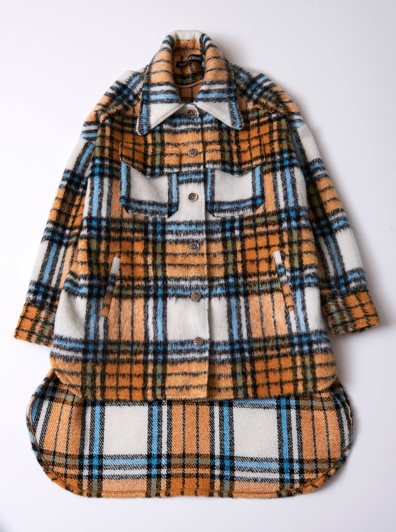 Vinti Andrews Orange Plaid Shirt Jacket