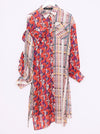 Vinti Andrews Floral and Stripes Organza Shirt Dress