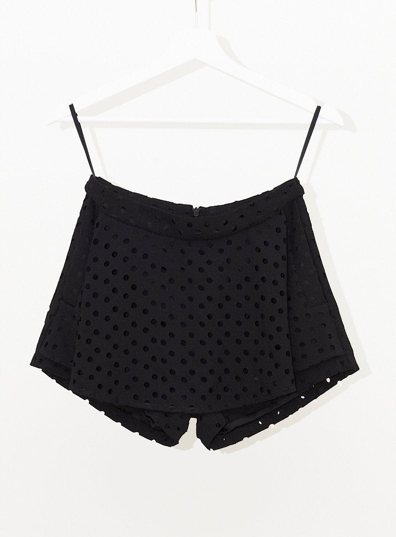 Vinti Andrews Laser Cut Skirt Shorts