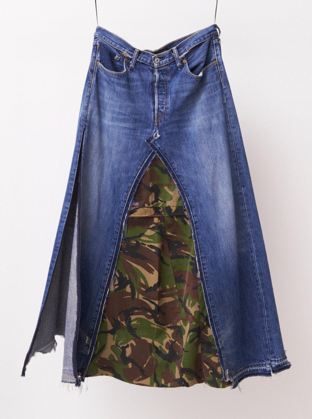 Vinti Andrews Remake Camo Denim Skirt