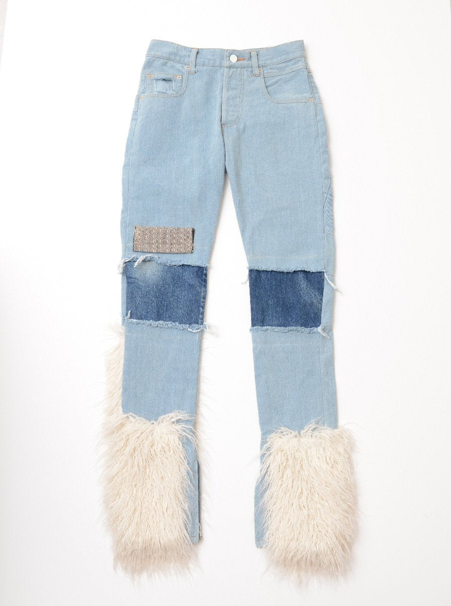 Vinti Andrews Faux Sheep Fur Jeans