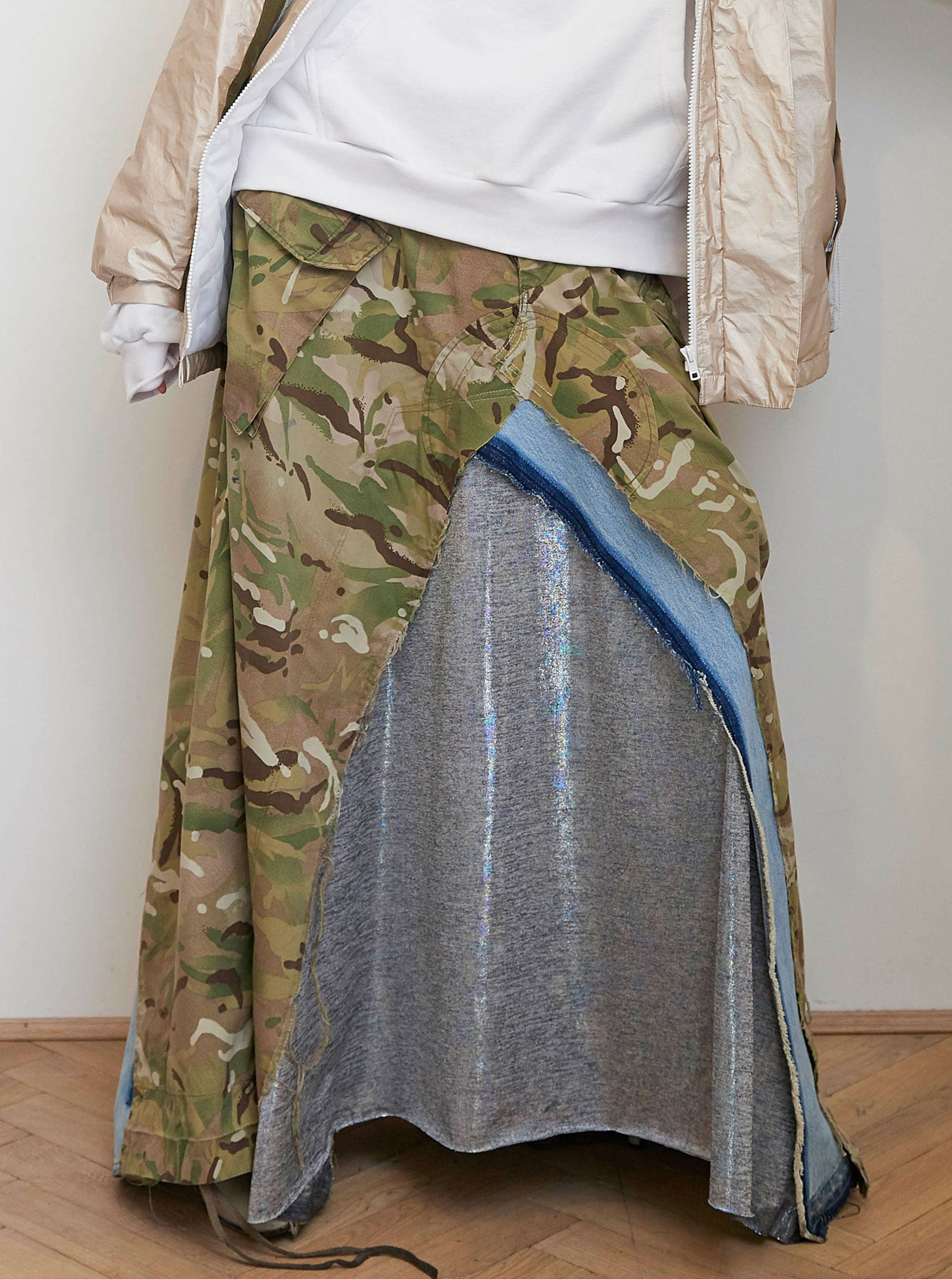 Vinti Andrews Camo Skirt Lame