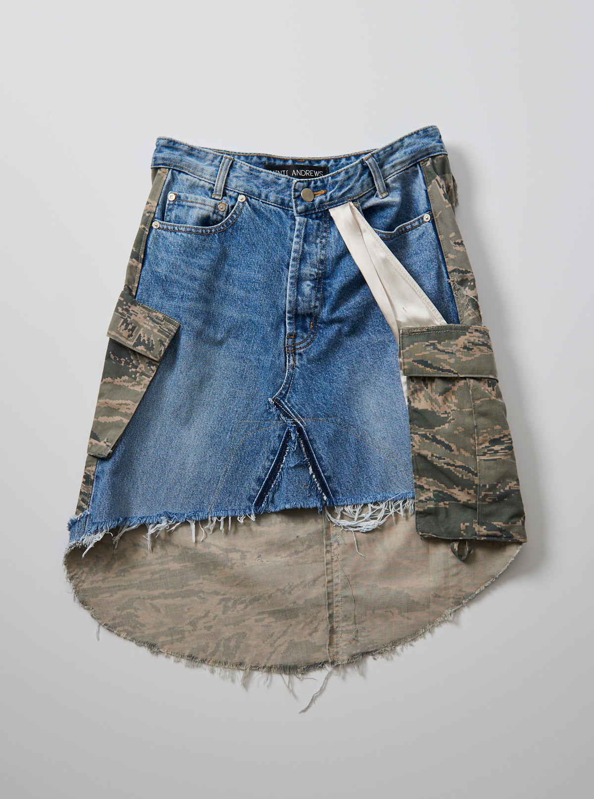Vinti Andrews Remake Camo Jean Skirt