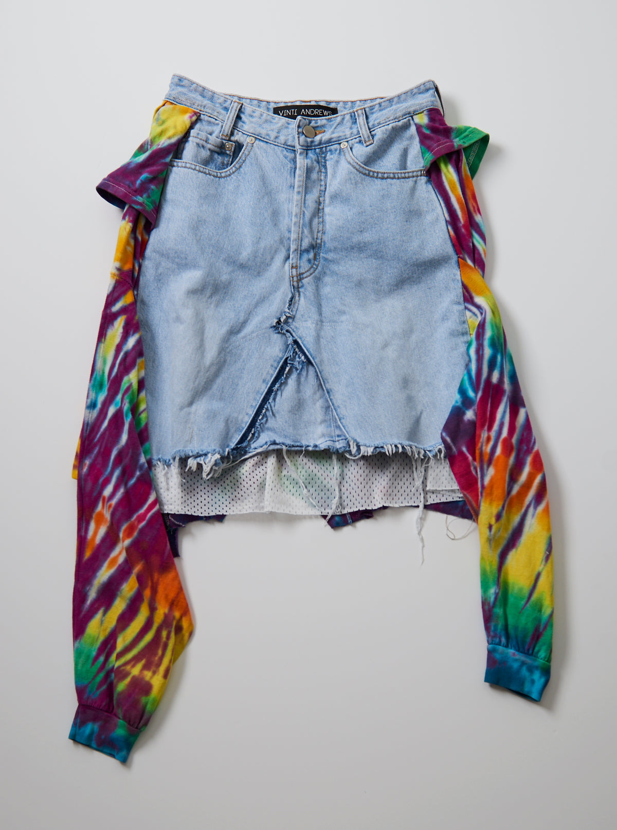 Vinti Andrews Rework Tie Dye T Shirt Jean Skirt