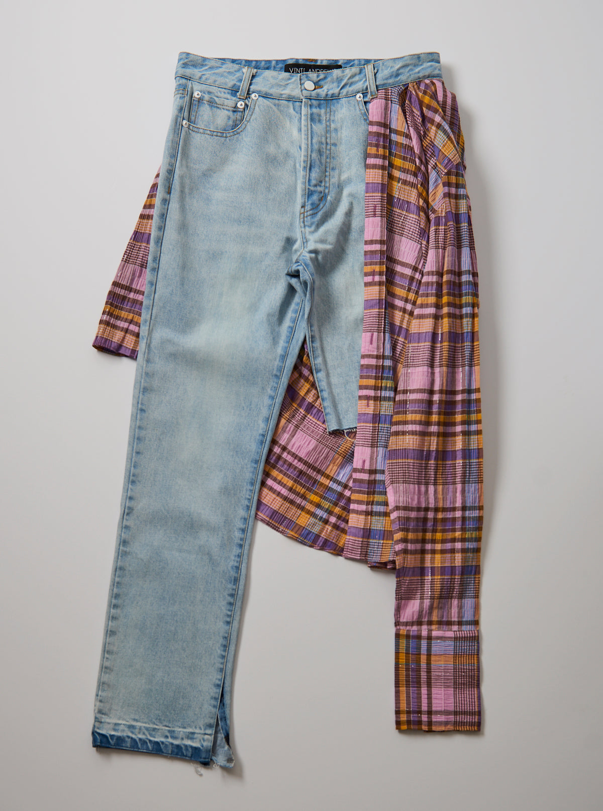 Vinti Andrews Plaid Shirt Jeans