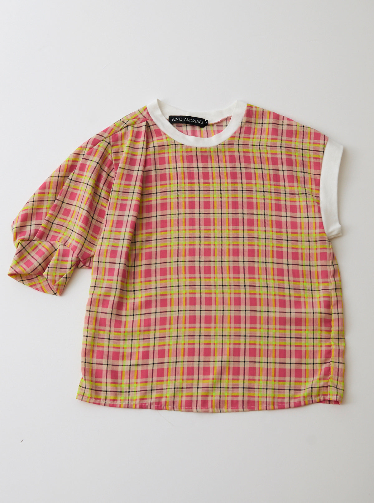 Plaid Crepe De Chine Asymmetric Top