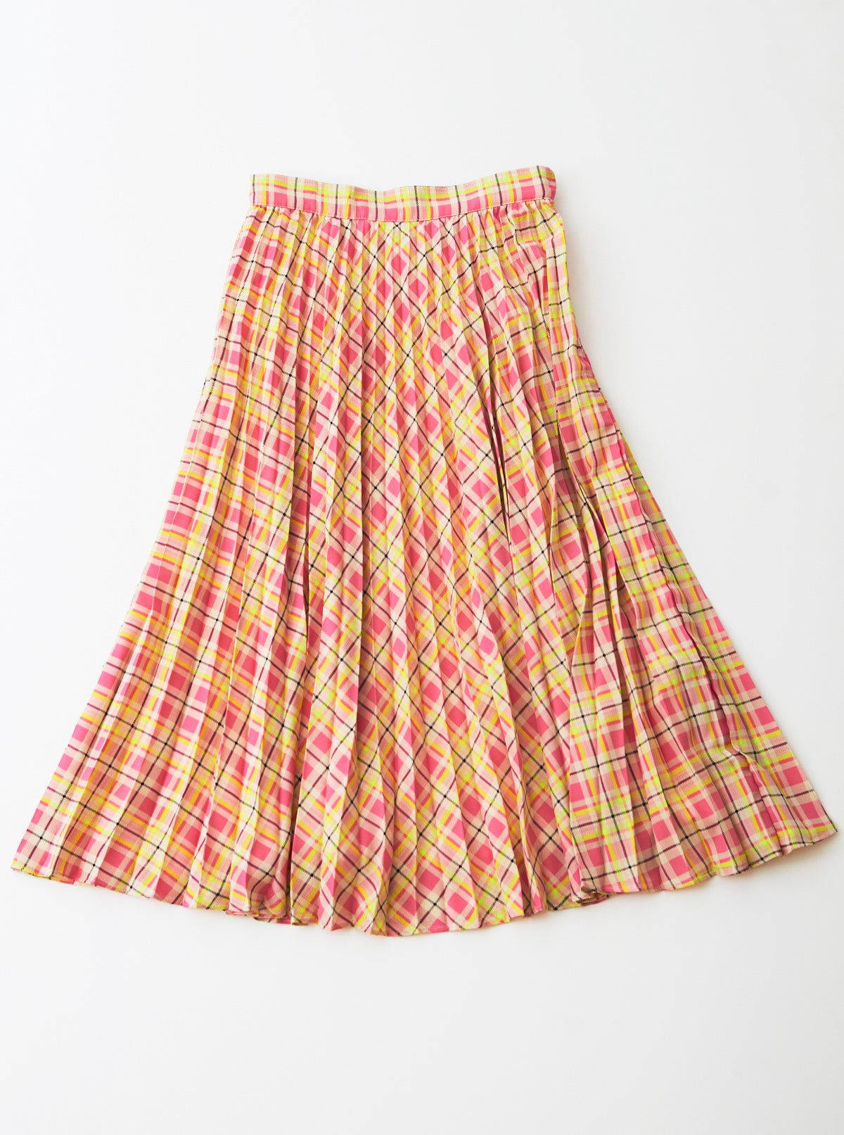 Plaid Crepe De Chine Pleated Skirt