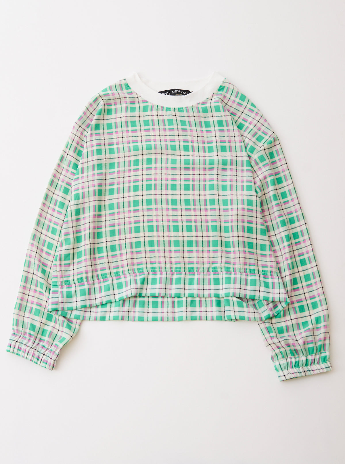 Plaid Crepe De Chine Jumper Top