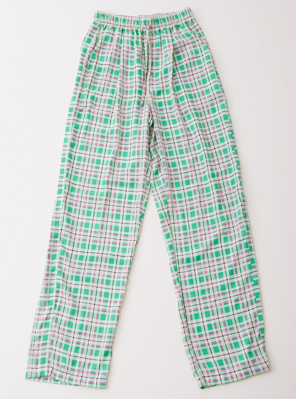 Plaid Crepe De Chine Track Pants