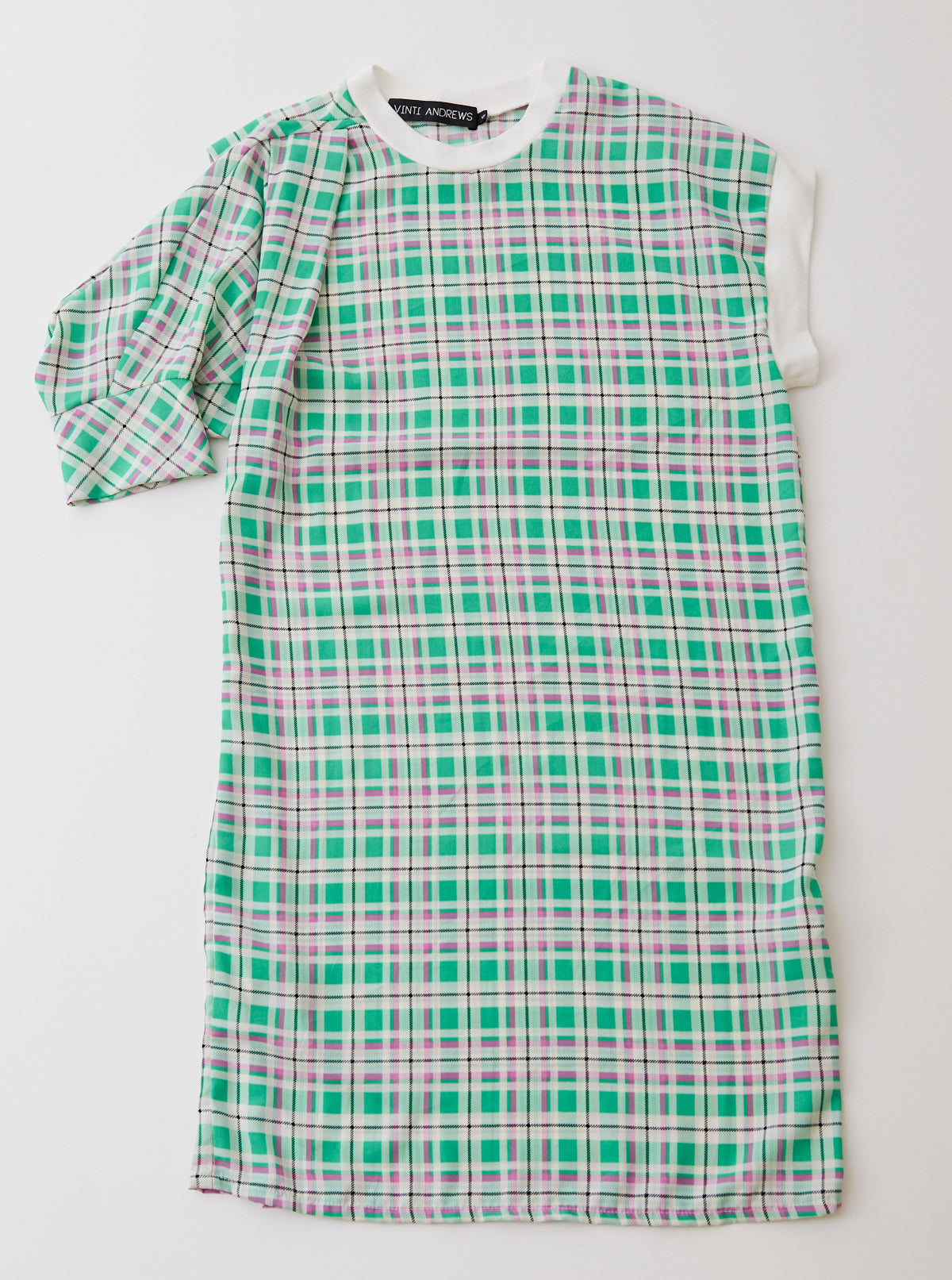 Asymmetric Plaid Crepe De Chine Dress