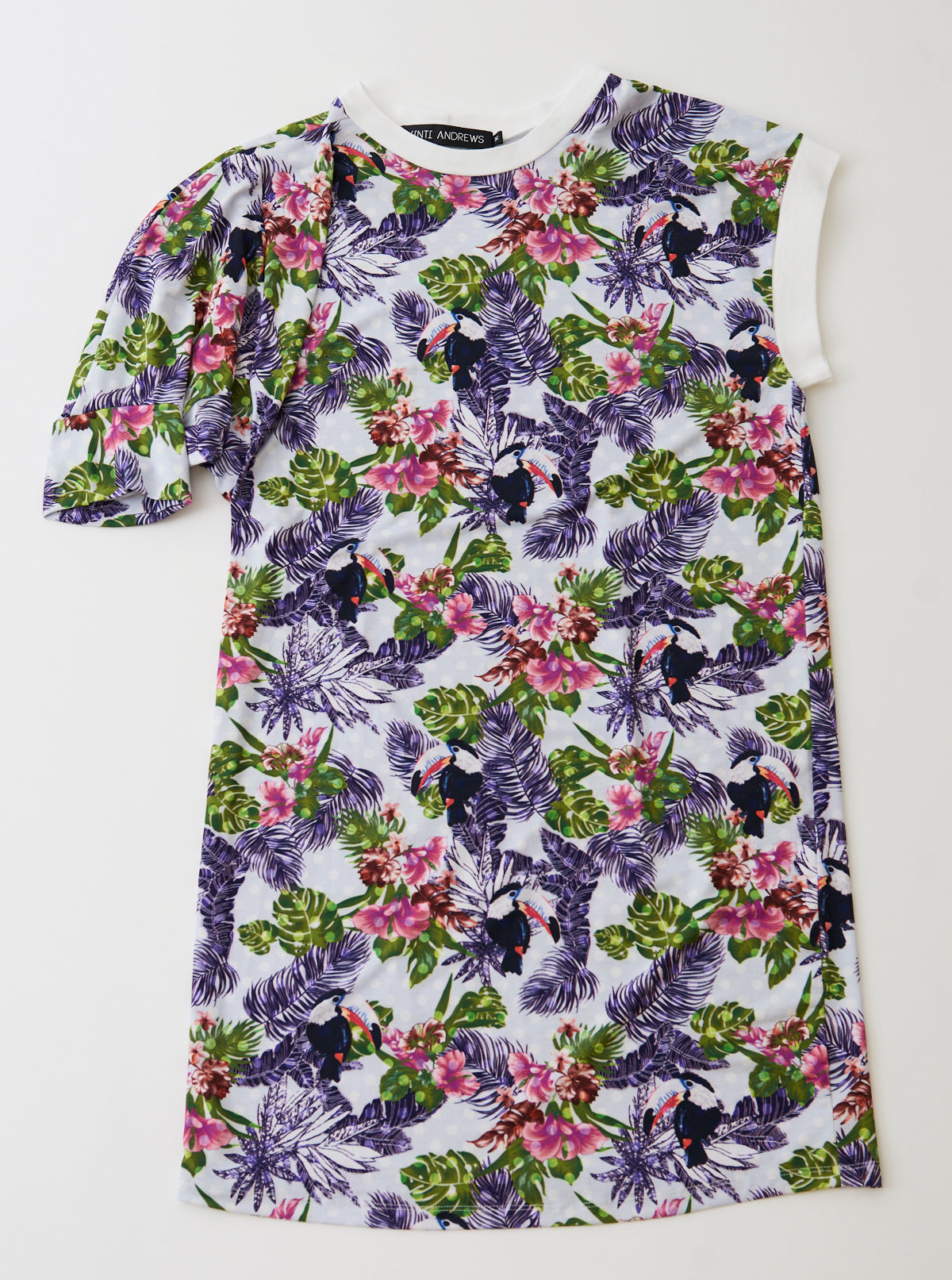 Vinti Andrews Asymmetric Floral Jersey Dress