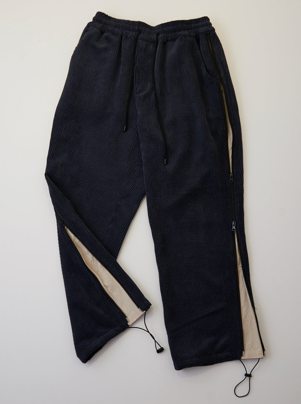 Vinti Andrews Side Zips Trousers Cord Charcoal