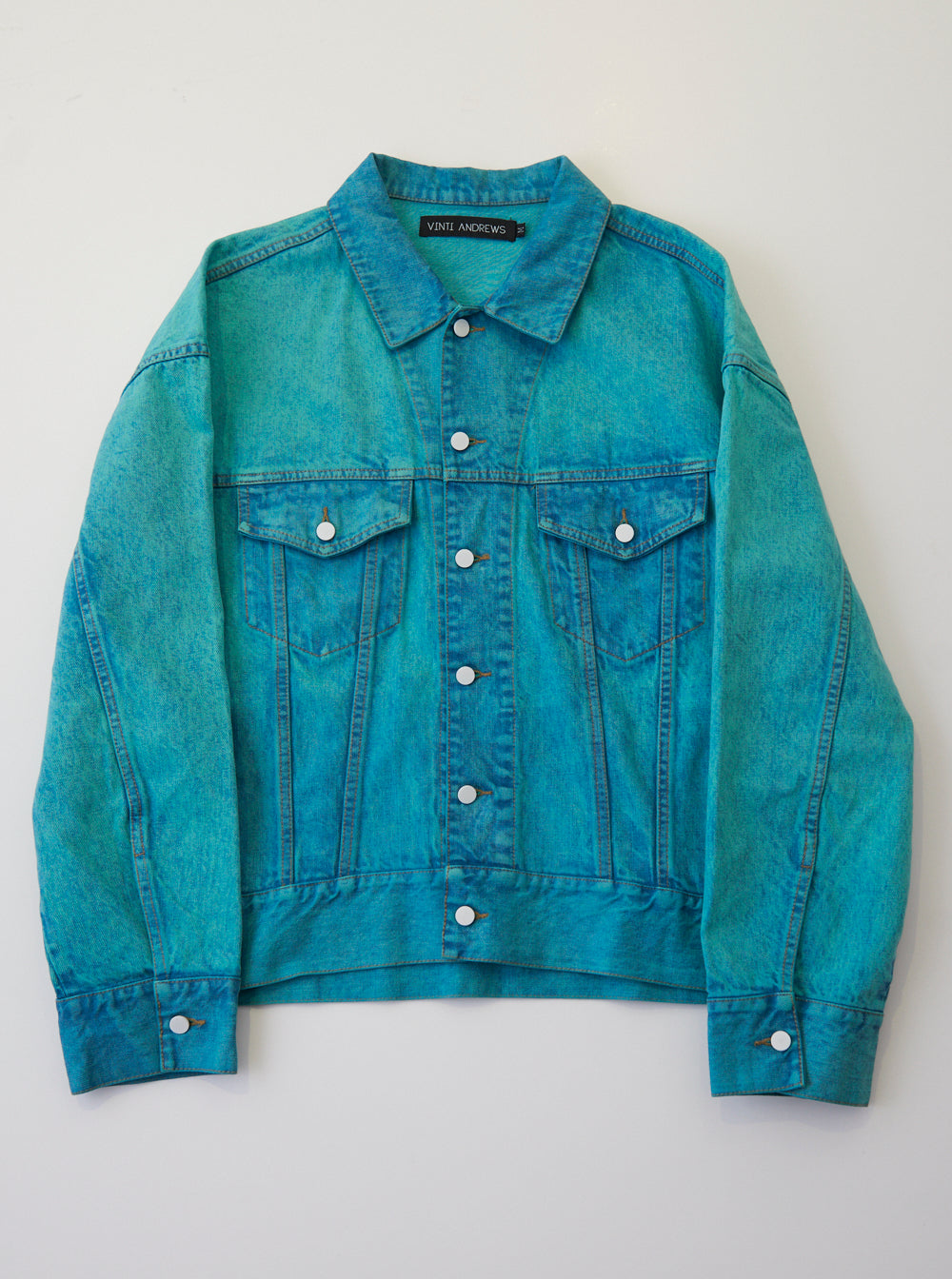 Vinti Andrews Denim Jacket Over Dyed Green