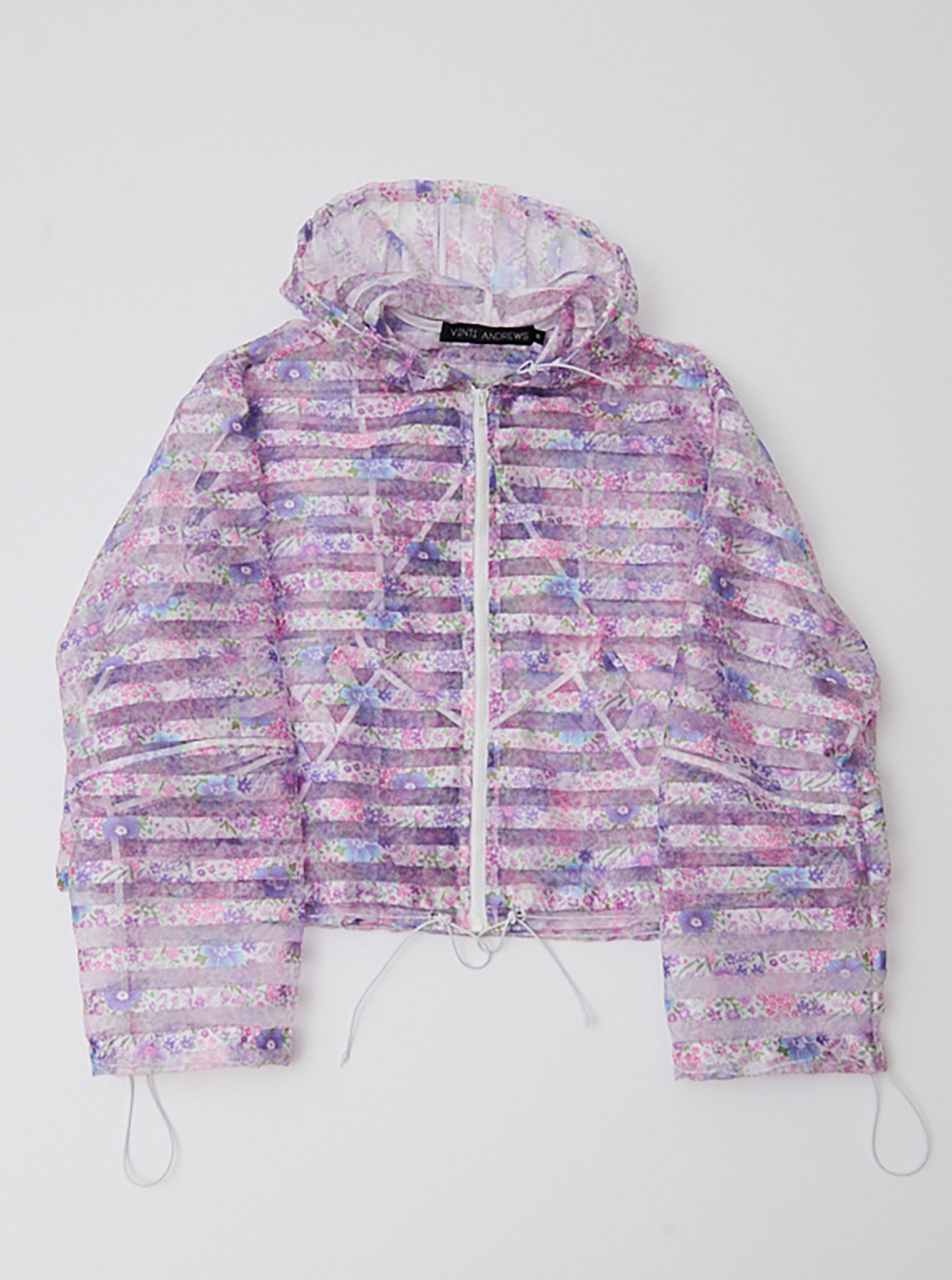 Vinti Andrews Lilac Motif Crop Zip Up Hoody