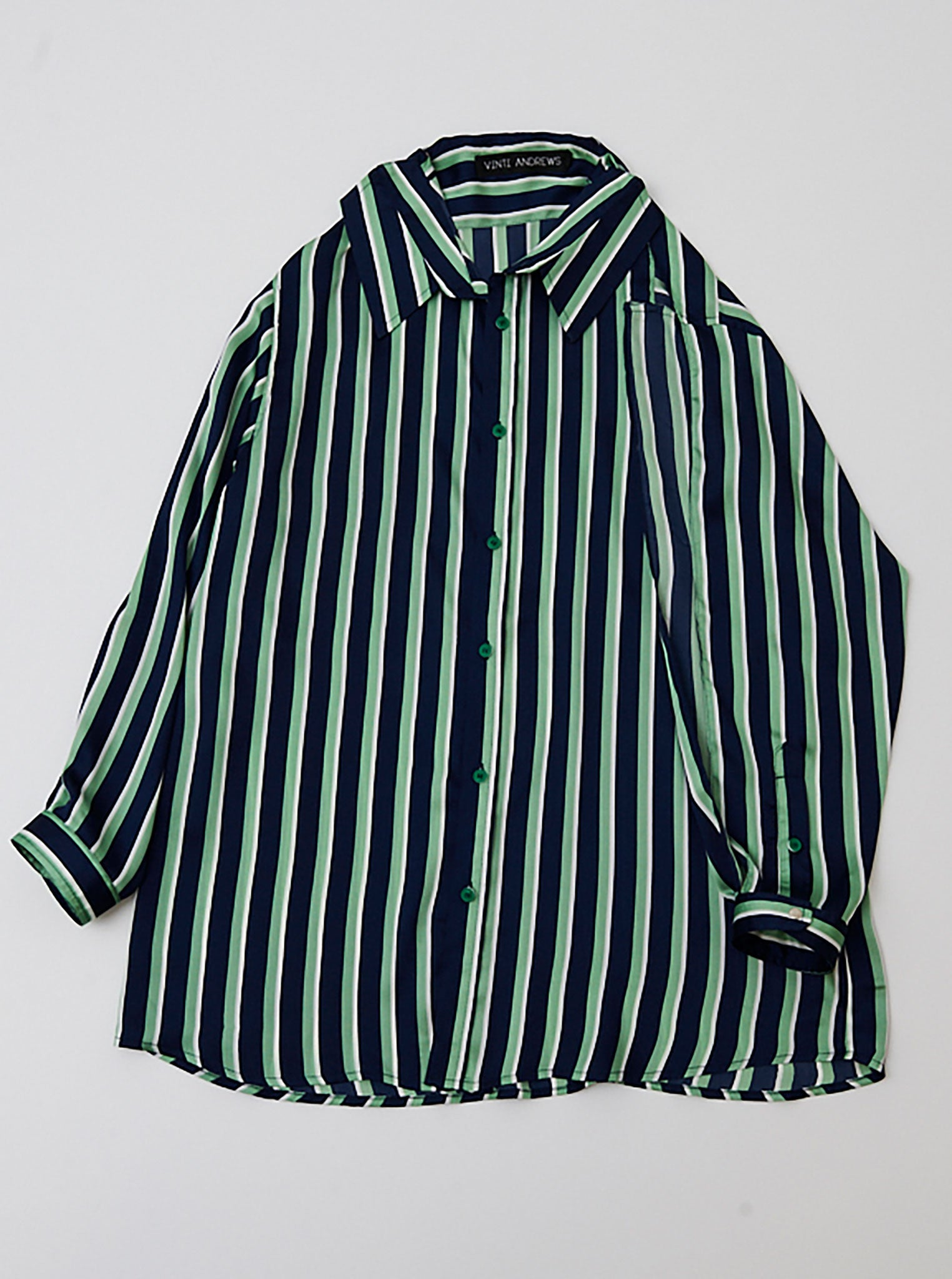 Vinti Andrews Satin Stripes Poppers on Shoulders Shirt