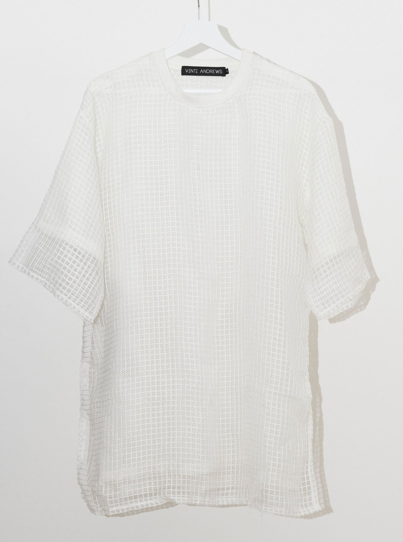 Vinti Andrews White Grid Organza T-Shirt