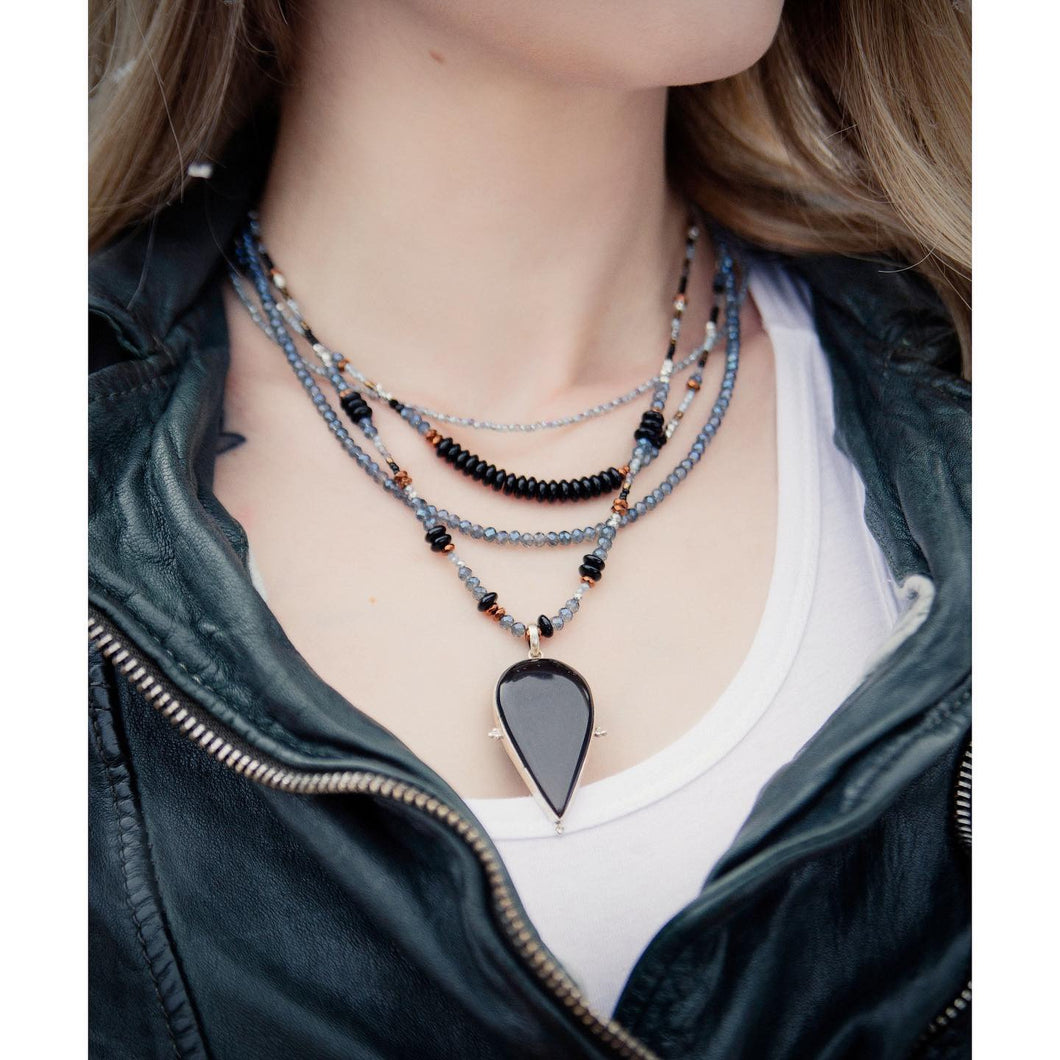 Black Onyx Teardrop Layered Crystal Necklace