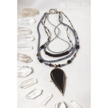 Load image into Gallery viewer, Black Onyx Teardrop Layered Crystal Necklace