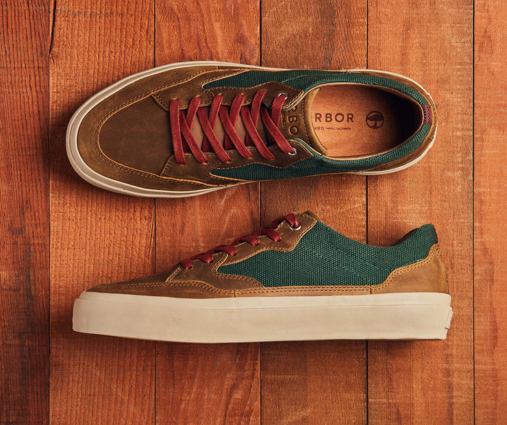 Foundation LX - Brown Leather-Green/Off White