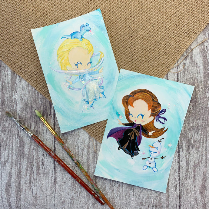 Anna & Elsa Hand Painted Originals