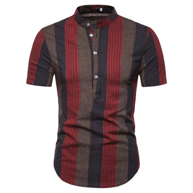 Male Polos Striped Slim Fit Short Sleeve Stand Collar Polo Shirt Men