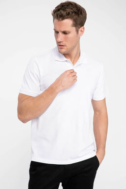Men White Polo Shirts Short Sleeve Solid Polo Shirts Mens