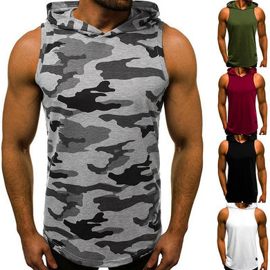 Men's Sleeveless Hooded Tops Streetwear Men Tank Tops