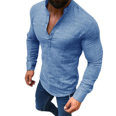 Polo Shirt streetwear Casual Long Sleeve V Neck Solid Color