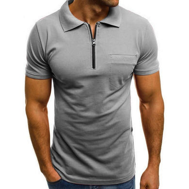 Fashion Short Sleeve Zipper Mens Polo Shirts Lapel