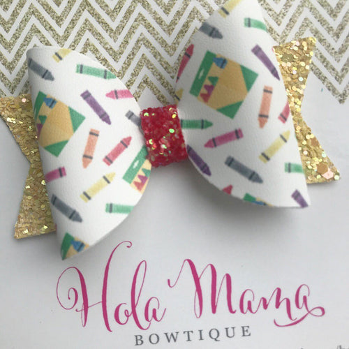 Back to School Crayon bow