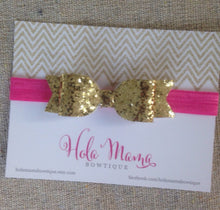 Load image into Gallery viewer, Baby Headband: The Caroline - gold sparkle bow on elastic