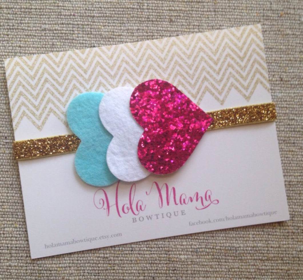 Baby Headband: The Catalina - sparkle hearts