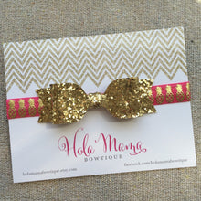 Load image into Gallery viewer, Baby Headband: La Piña - gold bow on pineapple elastic