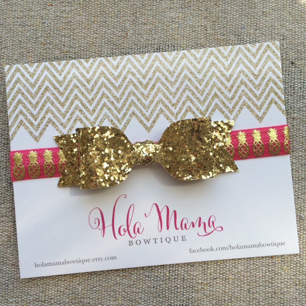 Baby Headband: La Piña - gold bow on pineapple elastic