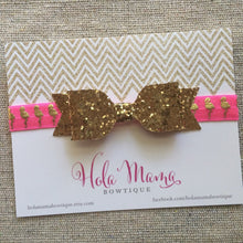 Load image into Gallery viewer, Baby Headband: The Mingo - sparkle bow on neon pink and gold flamingo elastic