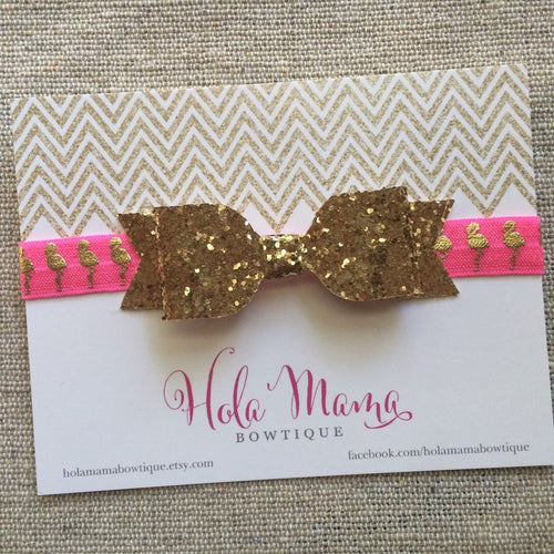 Baby Headband: The Mingo - sparkle bow on neon pink and gold flamingo elastic