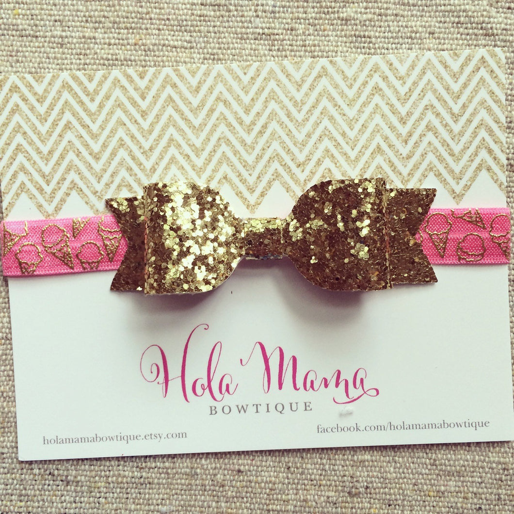 Baby Headband: Summer favorite - sparkle bow on pink with gold ice cream cone elastic