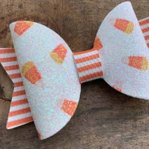 Glitter Candy Corn Bow