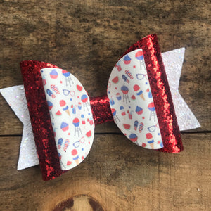 Summer Patriotic BBQ bow